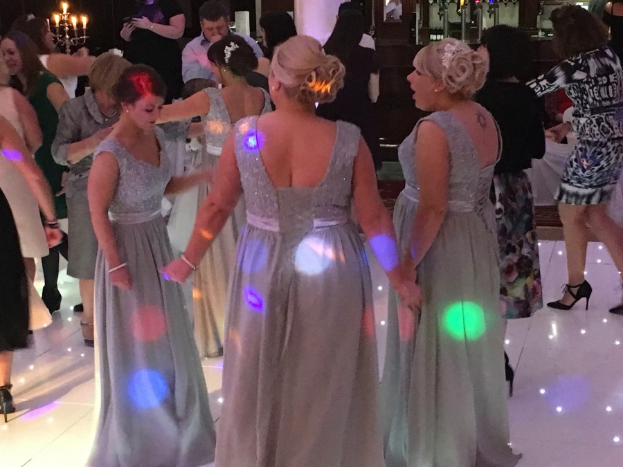 Bridesmaids and crowd tullyglass hotel the wedding disco 2015-12-11 21.54.10